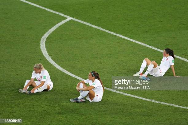Canada players look dejected following their sides defeat in the 2019 FIFA Women's World Cup France Round Of 16 match between Sweden and Canada at...