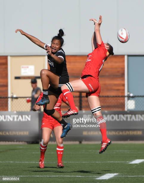 Canada plays against New Zealand in the HSBC Canada Women's Sevens Rugby tournament at Westhills Stadium in Langford BC Canada May 28 2017 New...