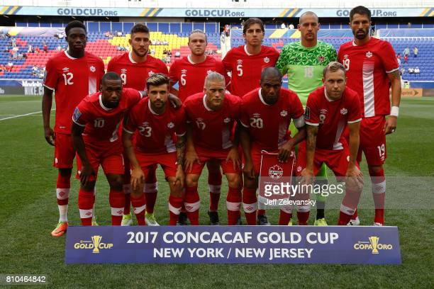 Canada pose for a team photo before their Concacaf Gold Cup match against French Guiana at Red Bull Arena on July 7 2017 in Harrison New Jersey