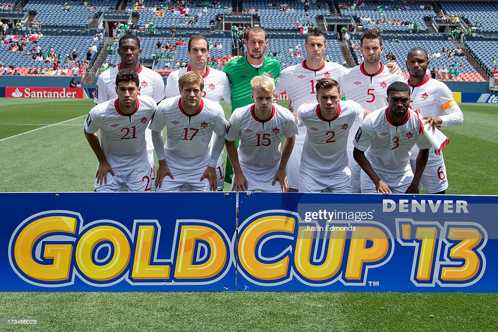 Canada poses on the pitch before taking on Panama in a CONCACAF Gold Cup match at Sports Authority Field at Mile High on July 14, 2013 in Denver, Colorado.