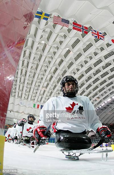 Canada prepare before their sledge hockey preliminary round Group A match against Great Britain on day one of the Turin 2006 Winter Paralympic Games...