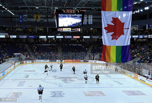 A Canada Pride flag hangs during an OHL game between the