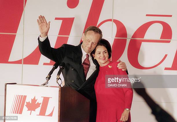 Canada Prime Minister designate Jean Chretien and his Aline wife acknowledge supporters, 25 October 1993, at the Liberal Party's headquarters in...