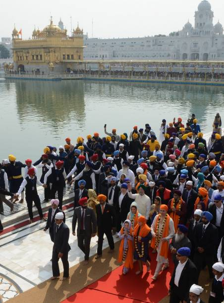 Canada Prime Minister Justin Trudeau and his family visits the Sikh Golden Temple in Amritsar on February 21 2018 Trudeau and his family are on a...