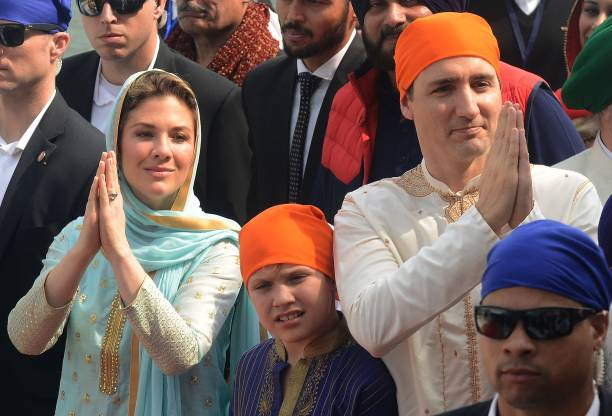 Canada Prime Minister Justin Trudeau and his wife Sophie Gregoire and son Xavier visit the Sikh Golden Temple in Amritsar on February 21 2018 Trudeau.