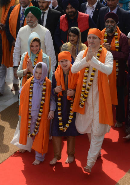 Canada Prime Minister Justin Trudeau and his wife Sophie Gregoire and son Xavier and daughter EllaGrace visit the Sikh Golden Temple in Amritsar on...