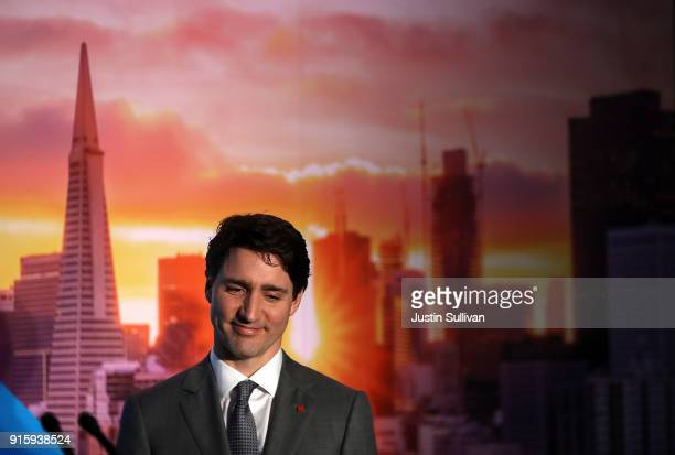 Canada Prime Minister Justin Trudeau looks on before speaking to members of the media during a visit to AppDirect on February 8 2018 in San Francisco...