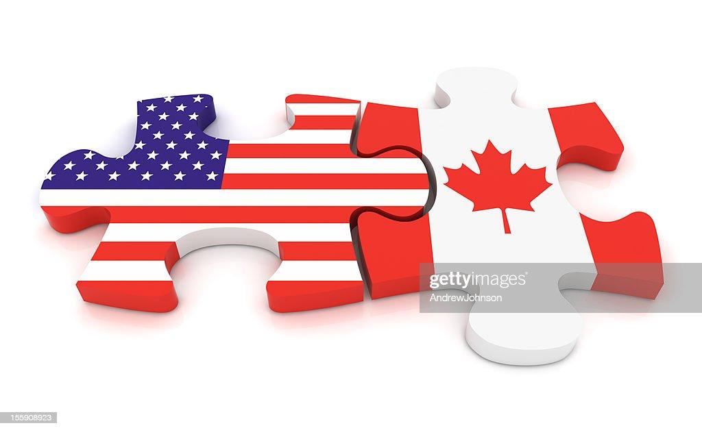 USA Canada Puzzle Concept : Stock Photo