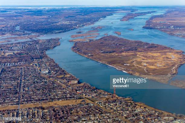 canada, quebec, aerial view of the region - river st lawrence stock pictures, royalty-free photos & images