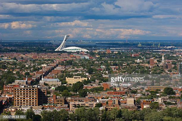 canada, quebec, montreal, cityscape, elevated view - olympic stadium stock pictures, royalty-free photos & images