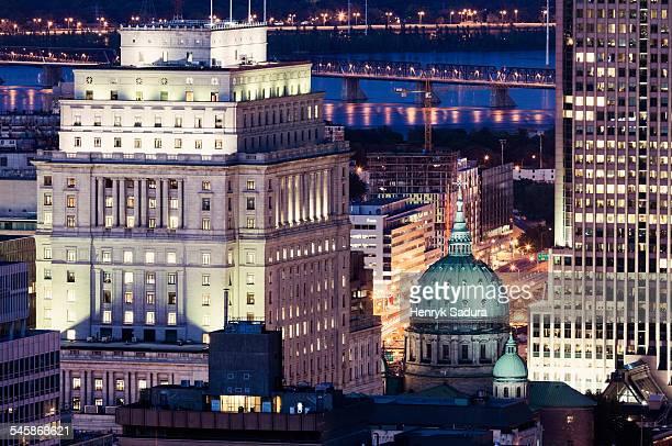 Canada, Quebec, Montreal, Illuminated city architecture