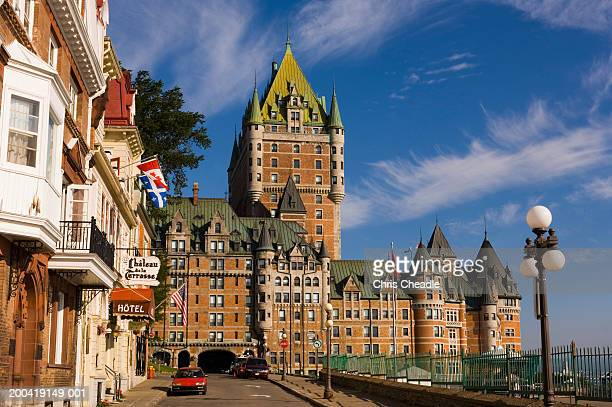 canada, quebec, quebec city, chateau frontenac hotel and street scene - quebec stock pictures, royalty-free photos & images