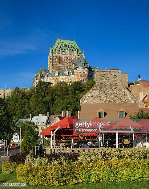 canada, quebec, quebec city, chateau frontenac, low angle view - chateau frontenac hotel stock pictures, royalty-free photos & images