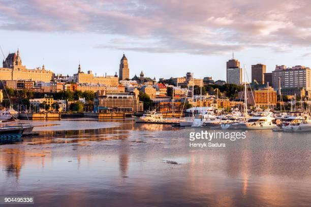 canada, quebec, quebec city, city reflecting in water - québec stock-fotos und bilder