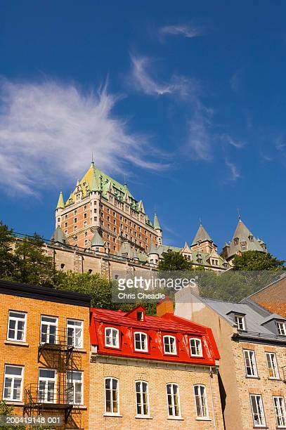 canada, quebec, quebec city, row houses along boulevard champlain - chateau frontenac hotel stock pictures, royalty-free photos & images