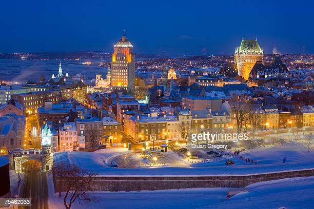 canada, quebec, quebec city,chateau frontenac and old town at night - old town stock pictures, royalty-free photos & images