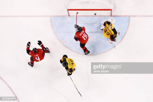 Canada reacts after a goal against Germany during the Men's Playoffs Semifinals on day fourteen of the PyeongChang 2018 Winter Olympic Games at...