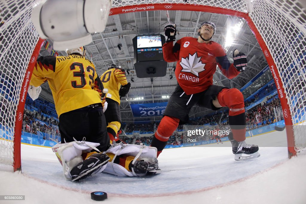 Canada reacts after a goal against Germany during the Men's Play-offs Semifinals on day fourteen of the PyeongChang 2018 Winter Olympic Games at Gangneung Hockey Centre on February 23, 2018 in Gangneung, South Korea.