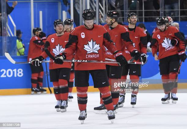 TOPSHOT Canada reacts after loosing the men's semifinal ice hockey match between Canada and Germany during the Pyeongchang 2018 Winter Olympic Games...