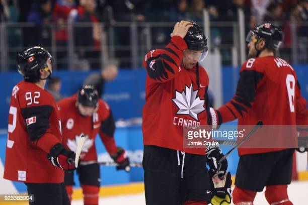 Canada reacts after losing 43 to Germany during the Men's Playoffs Semifinals on day fourteen of the PyeongChang 2018 Winter Olympic Games at...
