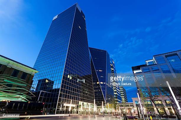 canada, saskatchewan, regina, low angle view of city street with glass skyscrapers - saskatchewan stock pictures, royalty-free photos & images