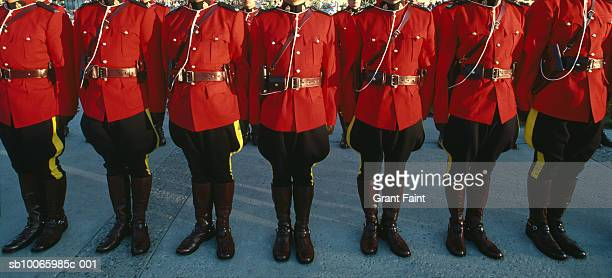 Canada, Saskatchewan, Regina, Royal Canadian Mounted Police in row, low section