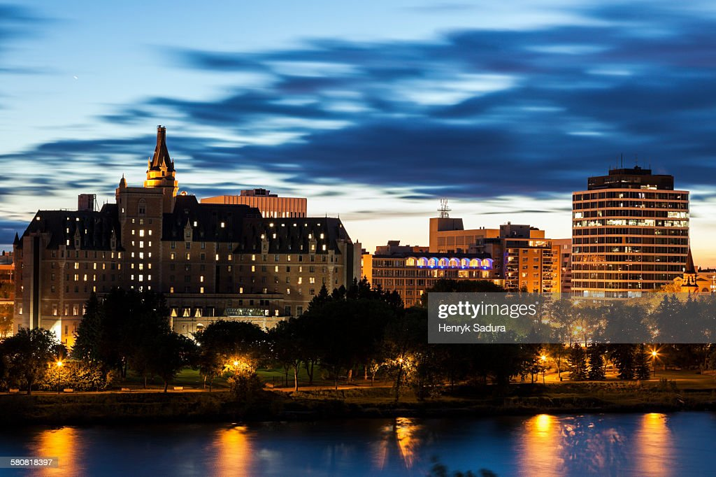 Canada, Saskatchewan, Saskatoon, City at night : Stock Photo