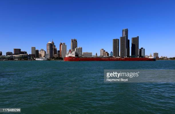 Canada Steamship Lines makes its way along the Detroit River and the Detroit skyline, and is photographed from the Riverfront in Windsor, Ontario,...