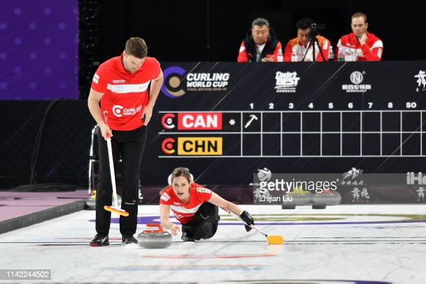 Canada Team 1 in action during the Curling Mixed Doubles round robin matches between China and Canada Team 1 on day 1 of the 20182019 WCF Curling...