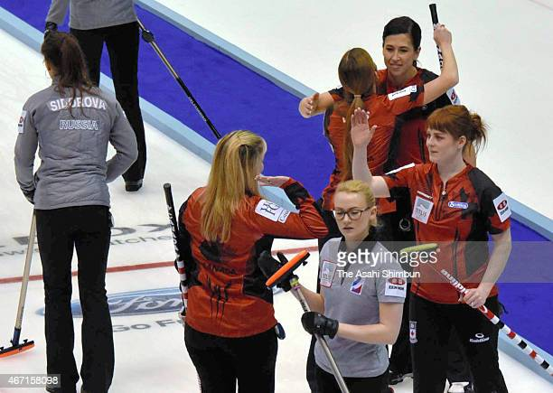 Canada team celebrates beating Russia in the semi final during day eight of the World Women's Curling Championship at Tsukisamu Gymnasium on March...