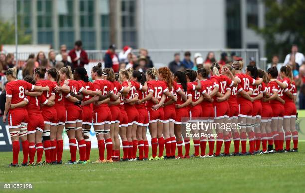 Canada team line up ahead of the Women's Rugby World Cup 2017 match between Canada and Wales on August 13 2017 in Dublin Ireland