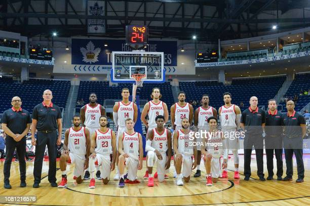 Canada team seen during the Canada national team vs Dominican Republic national team in the FIBA Basketball World Cup 2019 Qualifiers at Ricoh...