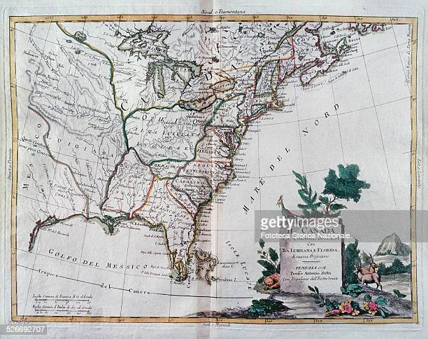 Canada the British colonies with the Louisiana and Florida in a map done two years after the Independence declaration and before the official...