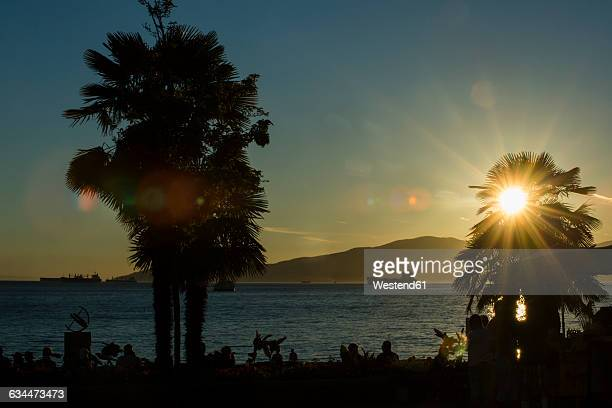 canada, vancouver, english bay at sunset - english bay stock photos and pictures