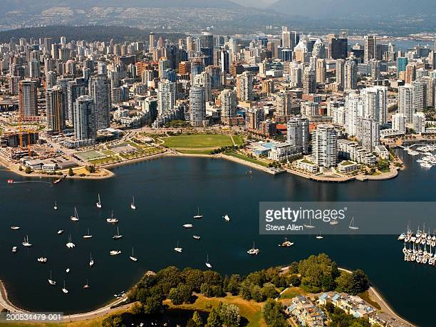 Canada, Vancouver, False Creek and cityscape, aerial view