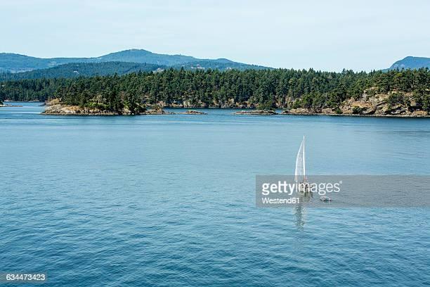 Canada, Vancouver Island, sailing boat on the coast of Victoria