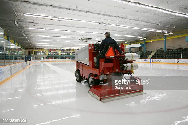 canada, victoria, ice resurfacing machine on ice rink, rear view - ice rink stock pictures, royalty-free photos & images