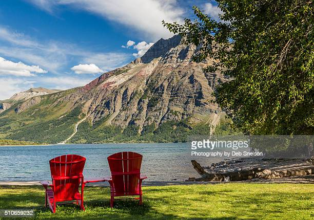Canada Waterton Lakes National Park Red Chairs