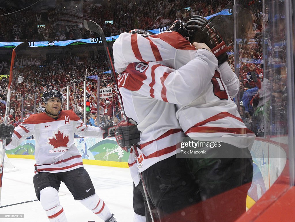 Canada wins the Gold Medal matchup between Canada and USA in Men's Hockey at Canada Hockey Place. Canada wins 3-2 in OT.