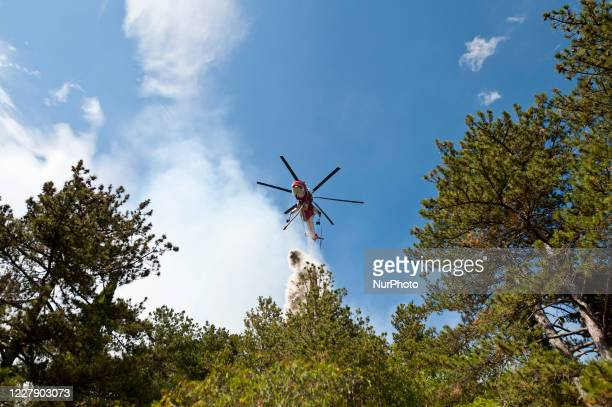 Canadair in action to put out the vast fire in L'Aquila Italy on August 3 2020 Eight hundred hectares of mountain gone up in smoke in LAquila Italy...