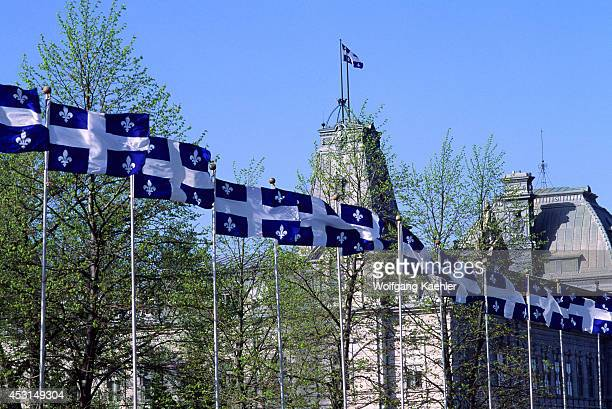 Canadaquebecquebec City Quebec Provincial Flags In Front Of Parliament