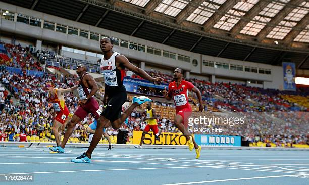 Canada's Aaron Brown races in a men's 100 metres qualifier at the 2013 IAAF World Championships at the Luzhniki stadium in Moscow on August 10 2013...