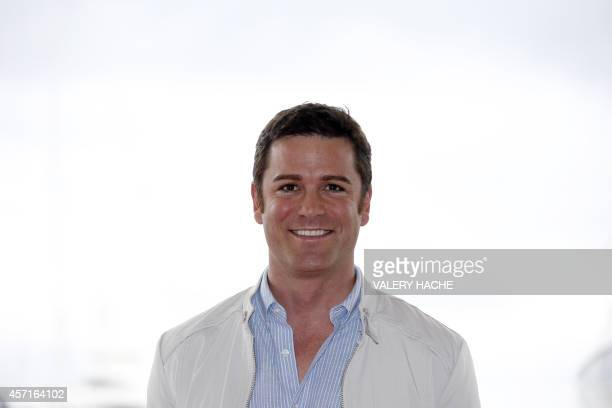 Canada's actor Yannick Bisson poses during a photocall for the TV serie Murdoch mysteries as part of the MIPCOM on October 13 2014 in Cannes...