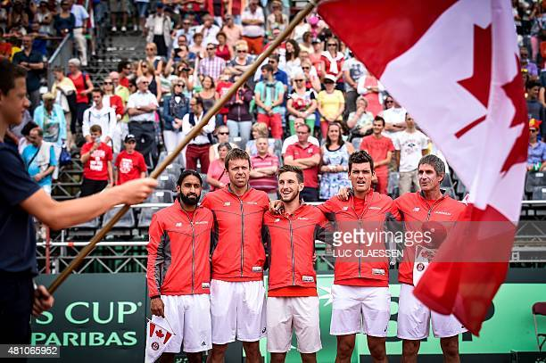 Canada's Adil Shamasdin, Daniel Nestor, Filip Peliwo, Frank Dancevic and Canada's captain Martin Laurendeau are pictured ahead of the first game...