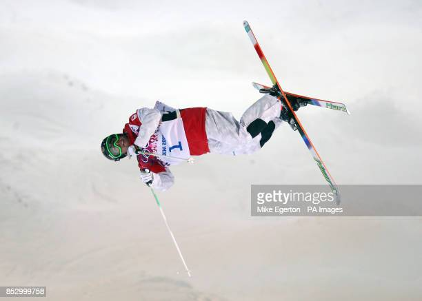 Canada's Alex Bilodeau in the mens moguls training run at The Rosa Khutor Extreme Park during the 2014 Sochi Olympic Games in Krasnaya Polyana Russia