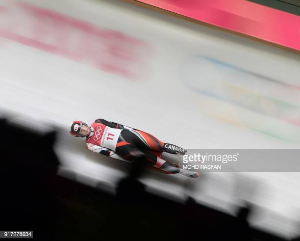 Canada's Alex Gough competes in the women's luge singles run 1 during the Pyeongchang 2018 Winter Olympic Games, at the Olympic Sliding Centre on...