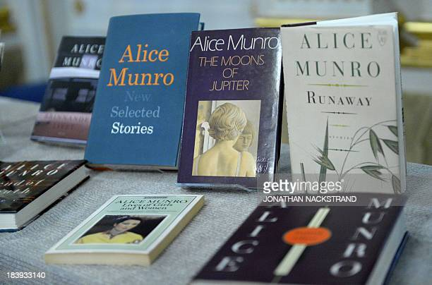 Canada's Alice Munro books the Nobel laureate in literature 2013 are displayed at Swedish Academy on October 10 2013 at the Royal Swedish Academy in...