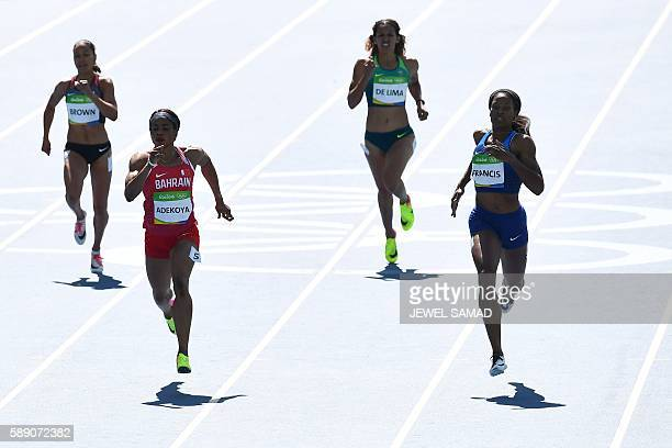 Canada's Alicia Brown Bahrain's Oluwakemi Adekoya Brazil's Jailma De Lima and USA's Phyllis Francis compete in the Women's 400m Round 1 during the...