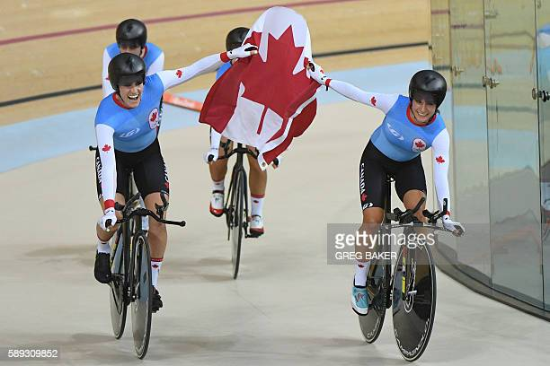Canada's Allison Beveridge, Canada's Jasmin Glaesser, Canada's Kirsti Lay and Canada's Georgia Simmerling celebrate with a flag after winning bronze...