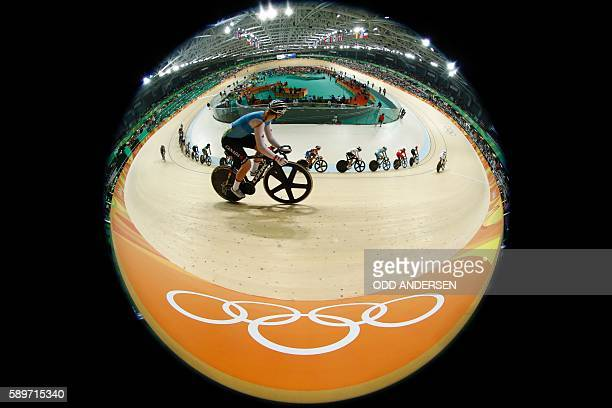 TOPSHOT Canada's Allison Beveridge competes in the Women's Omnium Scratch race track cycling event at the Velodrome during the Rio 2016 Olympic Games...